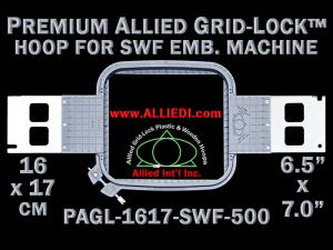 16 x 17 cm (6.5 x 7 inch) Rectangular Premium Allied Grid-Lock Plastic Embroidery Hoop - SWF 500