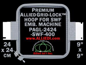 24 x 24 cm (9 x 9 inch) Square Premium Allied Grid-Lock Plastic Embroidery Hoop - SWF 400