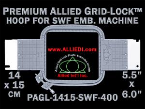 14 x 15 cm (5.5 x 6 inch) Rectangular Premium Allied Grid-Lock Plastic Embroidery Hoop - SWF 400