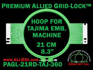 Tajima 21 cm (8.3 inch) Round Premium Allied Grid-Lock Embroidery Hoop for 360 mm Sew Field / Arm Spacing