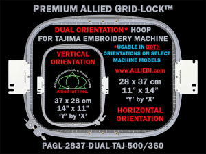 Tajima 28 x 37 cm (11 x 14 inch) Rectangular Premium Allied Grid-Lock DUAL ORIENTATION Embroidery Hoop for 500 mm & 360 mm Sew Fields / Arm Spacings
