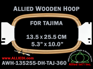 13.5 x 25.5 cm (5.3 x 10.0 inch) Rectangular Allied Wooden Embroidery Hoop, Double Height - Tajima 360