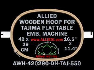 42.0 x 29.0 cm (16.5 x 11.4 inch) Oval Allied Wooden Embroidery Hoop, Double Height - Tajima 550 Flat Table