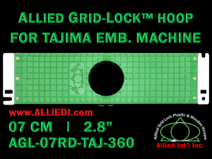 Tajima 7 cm (2.8 inch) Round Allied Grid-Lock Embroidery Hoop for 360 mm Sew Field / Arm Spacing