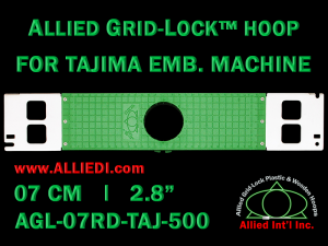 Tajima 7 cm (2.8 inch) Round Allied Grid-Lock Embroidery Hoop for 500 mm Sew Field / Arm Spacing