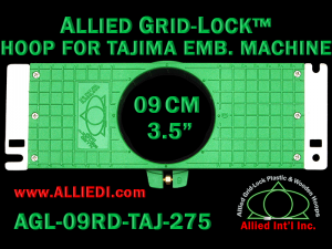 Tajima 9 cm (3.5 inch) Round Allied Grid-Lock Embroidery Hoop for 275 mm Sew Field / Arm Spacing