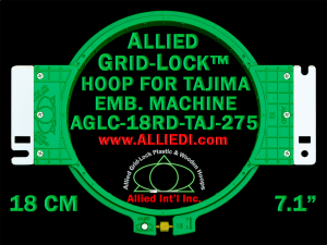 Tajima 18 cm (7.1 inch) Round Allied Grid-Lock Embroidery Hoop (New Design) for 275 mm Sew Field / Arm Spacing