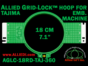 Tajima 18 cm (7.1 inch) Round Allied Grid-Lock Embroidery Hoop (New Design) for 360 mm Sew Field / Arm Spacing