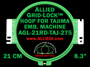 Tajima 21 cm (8.3 inch) Round Allied Grid-Lock Embroidery Hoop for 275 mm Sew Field / Arm Spacing
