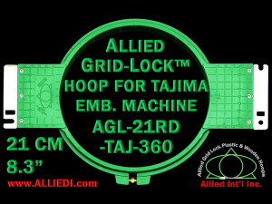 Tajima 21 cm (8.3 inch) Round Allied Grid-Lock Embroidery Hoop for 360 mm Sew Field / Arm Spacing
