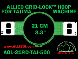 Tajima 21 cm (8.3 inch) Round Allied Grid-Lock Embroidery Hoop (New Design) for 500 mm Sew Field / Arm Spacing