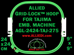 Tajima 24 x 24 cm (9 x 9 inch) Square Allied Grid-Lock Embroidery Hoop for 275 mm Sew Field / Arm Spacing