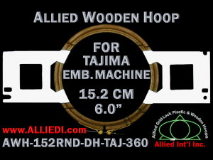 15.2 cm (6.0 inch) Round Allied Wooden Embroidery Hoop, Double Height - Tajima 360