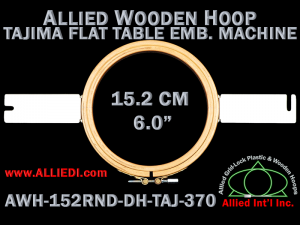 15.2 cm (6.0 inch) Round Allied Wooden Embroidery Hoop, Double Height - Tajima 370 Flat Table