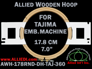 17.8 cm (7.0 inch) Round Allied Wooden Embroidery Hoop, Double Height - Tajima 360
