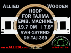 19.7 cm (7.8 inch) Round Allied Wooden Embroidery Hoop, Double Height - Tajima 360