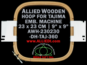 23.0 x 23.0 cm (9.0 x 9.0 inch) Rectangular Allied Wooden Embroidery Hoop, Double Height - Tajima 360