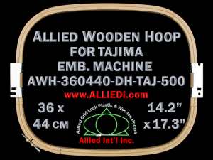 36.0 x 44.0 cm (14.2 x 17.3 inch) Rectangular Allied Wooden Embroidery Hoop, Double Height - Tajima 500