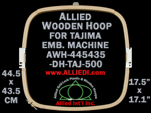 44.5 x 43.5 cm (17.5 x 17.1 inch) Rectangular Allied Wooden Embroidery Hoop, Double Height - Tajima 500