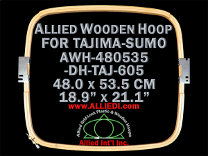 48.0 x 53.5 cm (18.9 x 21.1 inch) Rectangular Allied Wooden Embroidery Hoop, Double Height - Tajima 605