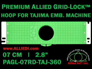 Tajima 7 cm (2.8 inch) Round Premium Allied Grid-Lock Embroidery Hoop for 360 mm Sew Field / Arm Spacing