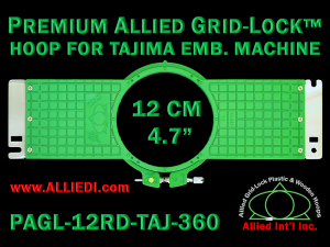 Tajima 12 cm (4.7 inch) Round Premium Allied Grid-Lock Embroidery Hoop for 360 mm Sew Field / Arm Spacing