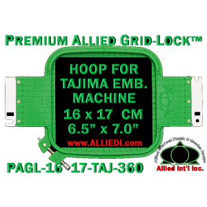 16 x 17 cm (6.5 x 7 inch) Rectangular Premium Allied Grid-Lock Plastic Embroidery Hoop - Tajima 360