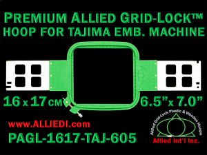 Tajima 16 x 17 cm (6.5 x 7 inch) Rectangular Premium Allied Grid-Lock Emb. Hoop for 605 mm Sew Field / Arm Spacing