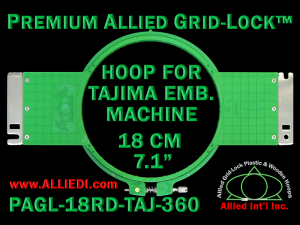 Tajima 18 cm (7.1 inch) Round Premium Allied Grid-Lock Embroidery Hoop for 360 mm Sew Field / Arm Spacing
