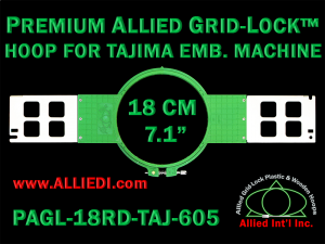 Tajima 18 cm (7.1 inch) Round Premium Allied Grid-Lock Embroidery Hoop for 605 mm Sew Field / Arm Spacing