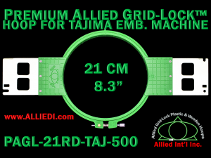 Tajima 21 cm (8.3 inch) Round Premium Allied Grid-Lock Embroidery Hoop for 500 mm Sew Field / Arm Spacing