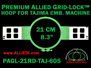 Tajima 21 cm (8.3 inch) Round Premium Allied Grid-Lock Embroidery Hoop for 605 mm Sew Field / Arm Spacing