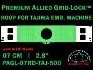 Tajima 7 cm (2.8 inch) Round Premium Allied Grid-Lock Embroidery Hoop for 500 mm Sew Field / Arm Spacing
