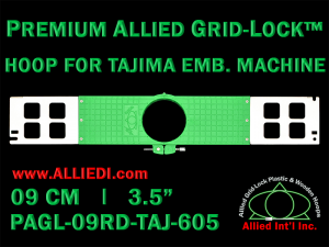 Tajima 9 cm (3.5 inch) Round Premium Allied Grid-Lock Embroidery Hoop for 605 mm Sew Field / Arm Spacing