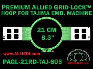 Tajima 21 cm (8.3 inch) Round Premium Allied Grid-Lock Embroidery Hoop for 605 mm Sew Field / Arm Spacing