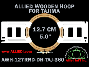 12.7 cm (5.0 inch) Round Allied Wooden Embroidery Hoop, Double Height - Tajima 360