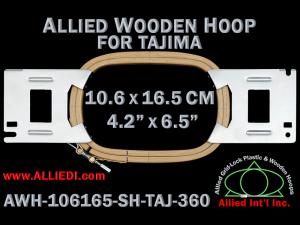 10.6 x 16.5 cm (4.2 x 6.5 inch) Rectangular Allied Wooden Embroidery Hoop, Single Height - Tajima 360
