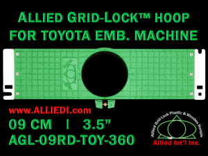9 cm (3.5 inch) Round Allied Grid-Lock Plastic Embroidery Hoop - Toyota 360