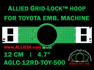12 cm (4.7 inch) Round Allied Grid-Lock (New Design) Plastic Embroidery Hoop - Toyota 500