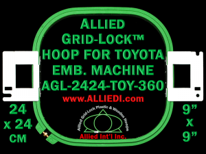 24 x 24 cm (9 x 9 inch) Square Allied Grid-Lock Plastic Embroidery Hoop - Toyota 360