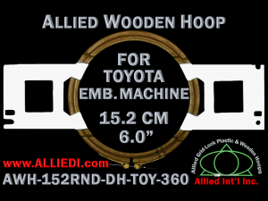 15.2 cm (6.0 inch) Round Allied Wooden Embroidery Hoop, Double Height - Toyota 360