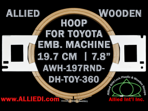 19.7 cm (7.8 inch) Round Allied Wooden Embroidery Hoop, Double Height - Toyota 360