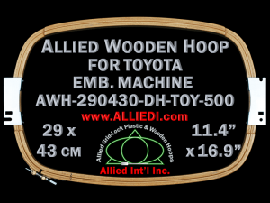 29.0 x 43.0 cm (11.4 x 16.9 inch) Rectangular Allied Wooden Embroidery Hoop, Double Height - Toyota 500