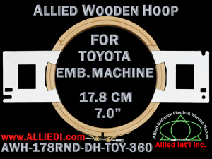 17.8 cm (7.0 inch) Round Allied Wooden Embroidery Hoop, Double Height - Toyota 360