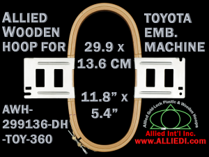 29.9 x 13.6 cm (11.8 x 5.3 inch) Rectangular Allied Wooden Embroidery Hoop, Double Height - Toyota 360