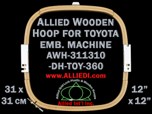 31.1 x 31.0 cm (12.2 x 12.2 inch) Rectangular Allied Wooden Embroidery Hoop, Double Height - Toyota 360
