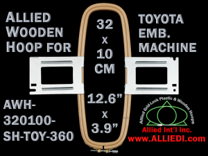32.0 x 10.0 cm (12.6 x 3.9 inch) Rectangular Allied Wooden Embroidery Hoop, Single Height - Toyota 360
