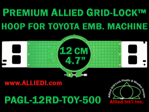 12 cm (4.7 inch) Round Premium Allied Grid-Lock Plastic Embroidery Hoop - Toyota 500