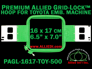 16 x 17 cm (6.5 x 7 inch) Rectangular Premium Allied Grid-Lock Plastic Embroidery Hoop - Toyota 500