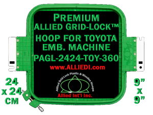 24 x 24 cm (9 x 9 inch) Square Premium Allied Grid-Lock Plastic Embroidery Hoop - Toyota 360